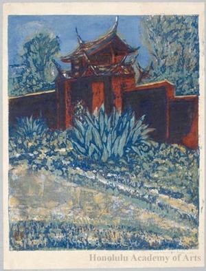 Onchi Koshiro: Side Gate of Confucian temple in Formosa - Honolulu Museum of Art