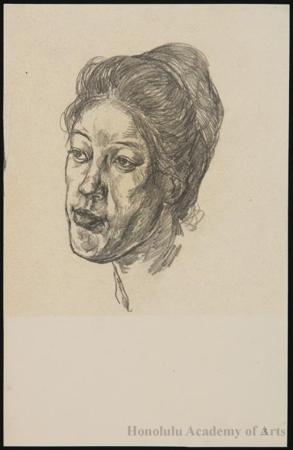 Onchi Koshiro: Portrait of Mrs. Onchi (Nobuo) - Honolulu Museum of Art