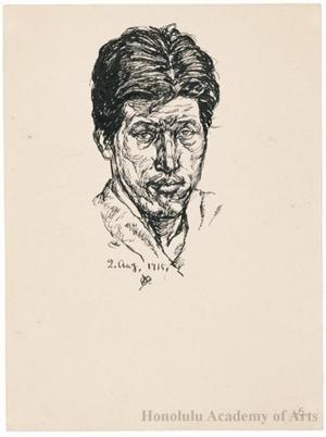 Onchi Koshiro: Self-portrait - Honolulu Museum of Art
