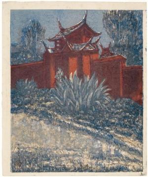 Onchi Koshiro: Side Gate of a Confucian temple in Formosa - Honolulu Museum of Art
