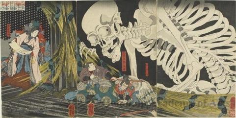 歌川国芳: Takiyasha the Witch and the Skeleton Specter from the Story of Utö Yasutaka - ホノルル美術館