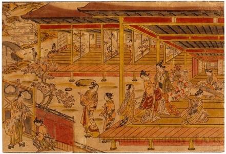 奥村政信: Ushiwaka (Yoshitsune) and Lady Jöruri - ホノルル美術館