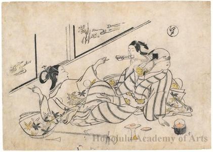 Okumura Masanobu: Lovers Fighting Over a Love Letter - Honolulu Museum of Art