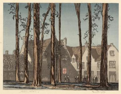 Urushibara Mokuchü: Beguinage, Bruge, Belgium - ホノルル美術館