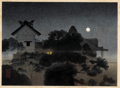 Komura Settai: Evening scene at yushima - ホノルル美術館