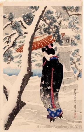 伊東深水: Shinto shrine in Snow - ホノルル美術館