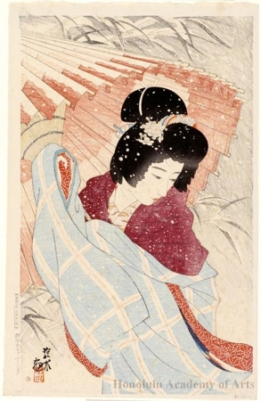 伊東深水: Woman with Umbrella in Snow Flurry - ホノルル美術館