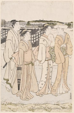 勝川春潮: A Lady with Two Maid Servants and a Man Walking on the River Bank (descriptive title) - ホノルル美術館
