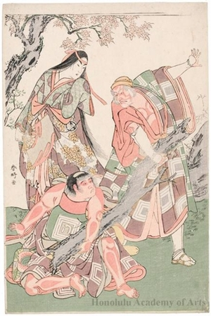 勝川春好: Ichikawa Danjürö V as Ninna-ji Saibei, Segawa Kikunojö III as the Mountain Hug and Ichikawa Monnosuke II as kintoki in the play Otokoyama Furisode Genji - ホノルル美術館