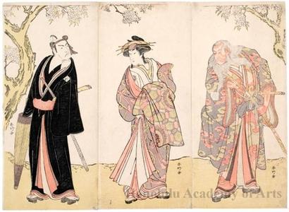 勝川春好: Ichikawa Danjürö V as Ikyü, Nakamura Rikö I as Agemaki and Ichikawa Yaozö III as Sukeroku - ホノルル美術館