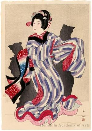 名取春仙: Nakamura Jakuemon as Oshichi - ホノルル美術館