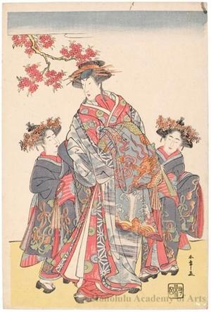 勝川春章: The Onnagata Actor Nakamura Rikö I as Agemaki with Two Attendants - ホノルル美術館