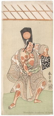 勝川春章: The Actor Nakamura Sukegorö II as Matano Gorö in the play Meotogiku Izuno Kisewata - ホノルル美術館
