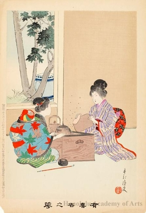 宮川春汀: Cleaning the Tea Service (descriptive title) - ホノルル美術館