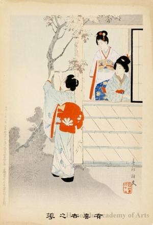 宮川春汀: Women under Cherry Blossoms (descriptive title) - ホノルル美術館
