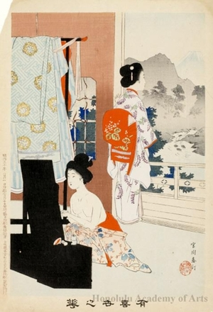 Miyagawa Shuntei: Bijin Applying Makeup (descriptive title) - Honolulu Museum of Art