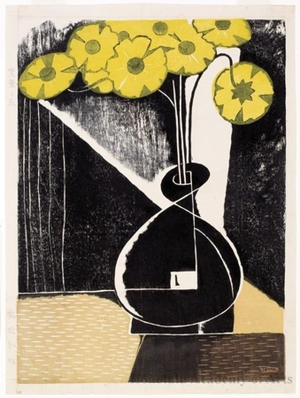 Inagaki Tomoo: Yellow Flowers in a Black Vase - Honolulu Museum of Art