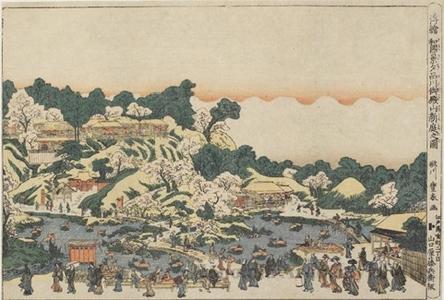 Utagawa Toyoharu: Famous Places of Japan: The New Garden at Gotenyama in Shinagawa in the Evening - Honolulu Museum of Art