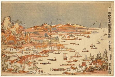 Utagawa Toyoharu: Perspective Picture: Views of Japan: The Eight Views of Ömi - Honolulu Museum of Art