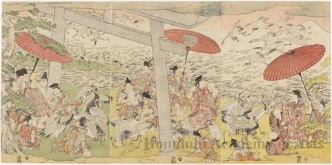 Utagawa Toyokuni I: Noblemen and Cranes - Honolulu Museum of Art