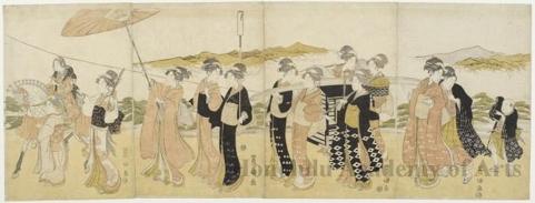 歌川豊国: Female Procession - ホノルル美術館