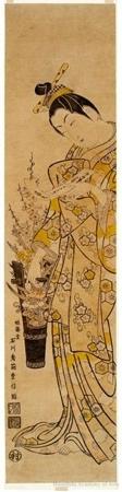 Ishikawa Toyonobu: Courtesan With Flowers - Honolulu Museum of Art