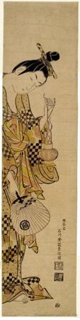 石川豊信: Girl With Lantern and Fan - ホノルル美術館
