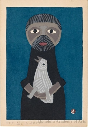Azechi Umetaro: Man holding large bird, blue background - ホノルル美術館