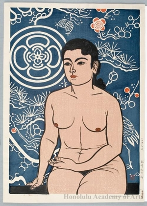 Hiratsuka Unichi: Nude Woman in Pines, Bamboo and Plums background - Honolulu Museum of Art