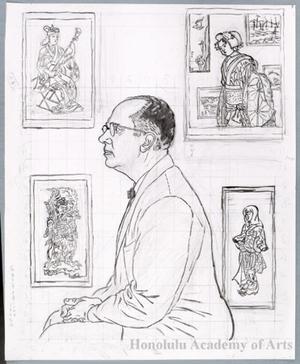 Hiratsuka Unichi: Portrait Print of James A. Michener (Under drawing) - Honolulu Museum of Art