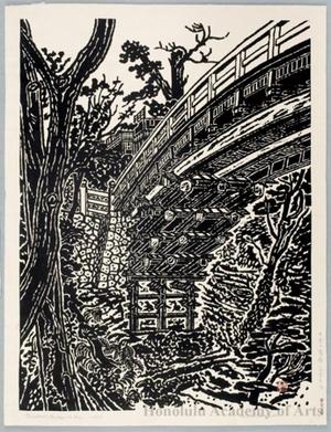 Hiratsuka Unichi: Saruhashi Bridge in Kai - ホノルル美術館