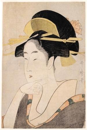 Kitagawa Utamaro: Bijin Ökubi (Bust Portrait of a Beautiful Woman) - Honolulu Museum of Art