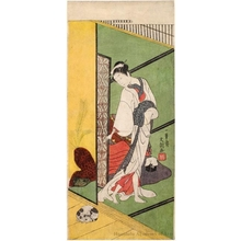 Ippitsusai Buncho: Courtesan with A Dog - Honolulu Museum of Art