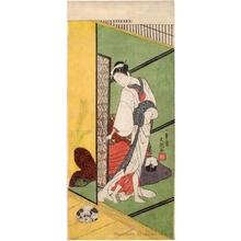 一筆斉文調: Courtesan with A Dog - ホノルル美術館