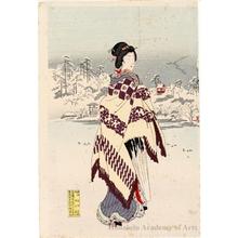 豊原周延: Snow at Shinobazu - ホノルル美術館