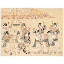 Hosoda Eishi: Ten Women dancing under a large umbrella (descriptive title) - Honolulu Museum of Art