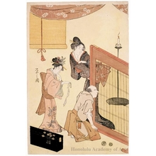 Hosoda Eishi: Two Ladies and Man (descriptive title) - Honolulu Museum of Art