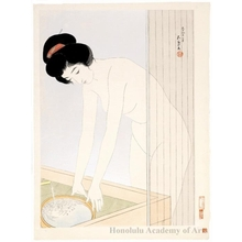 Hashiguchi Goyo: Woman preparing to wash her face - Honolulu Museum of Art