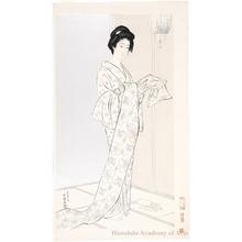 橋口五葉: Young Woman in Summer Kimono - ホノルル美術館