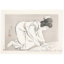 橋口五葉: Woman Folding Kimono - ホノルル美術館