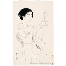 橋口五葉: Woman with Firefly Cage - ホノルル美術館