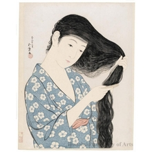 Hashiguchi Goyo: Woman Combing Her Hair - Honolulu Museum of Art