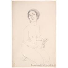 橋口五葉: Woman Holding A Towel - ホノルル美術館