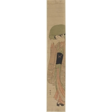 Suzuki Harunobu: Woman Wearing Straw Hat (descriptive title) - Honolulu Museum of Art