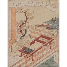 Suzuki Harunobu: Poetess Murasaki Shikibu at Ishiyama Temple in Otsu (shore of Lake Biwa) - Honolulu Museum of Art