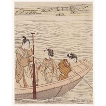 鈴木春信: Fishing near Mimeguri Shrine on the Sumida River - ホノルル美術館
