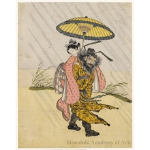 Suzuki Harunobu: Shöki Carrying a Young Girl - Honolulu Museum of Art