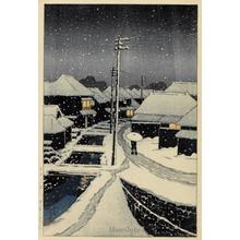 川瀬巴水: Evening Snow at Terajima Village - ホノルル美術館