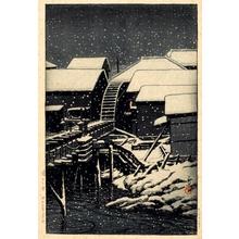 川瀬巴水: Snow at Sekiguchi - ホノルル美術館