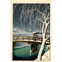 Kawase Hasui: Evening Snow at Edo River - Honolulu Museum of Art
